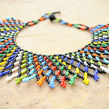 Colourful Collar Necklace,Beaded African Jewellery,Traditional Zulu Fashion,Ethnic Tribal Statement Necklace,South African beadwork
