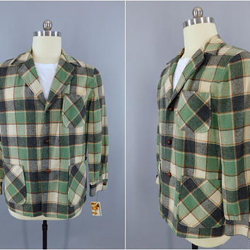 Vintage 1960s Wool Coat / 60s Pendleton Wool Jacket / Menswear / Lumberjack Green Plaid / Mid Century