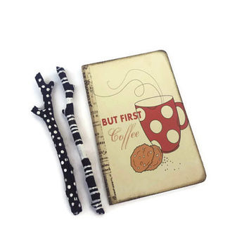 Coffee Journal, But First Coffee, Mini Notebook, Steaming Cup, Red, Tan, Coffee Lovers Gift, Whimsical, Coffee Jotter, To Do Notebook