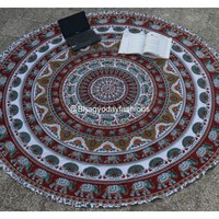 Indian Mandala Round Tapestry Hippie Bohemian Bedspread