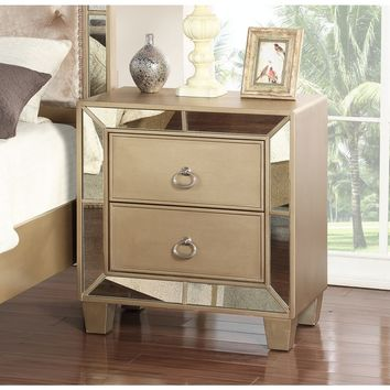 Abbyson Chateau Goldtone Finish Wood Mirrored 2-drawer Nightstand | Overstock.com Shopping - The Best Deals on Nightstands
