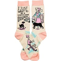 I Just Want To Be A Stay At Home Dog Mom Socks in Pastel