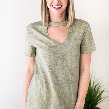 Textured Valley Cut Out T Shirt - Olive