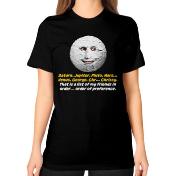 Mighty boosh the moon Unisex T-Shirt (on woman)