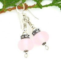 Pink Sea Glass Lampwork and Crystals Earrings, Frosted Sterling Handmade Dangle Jewelry