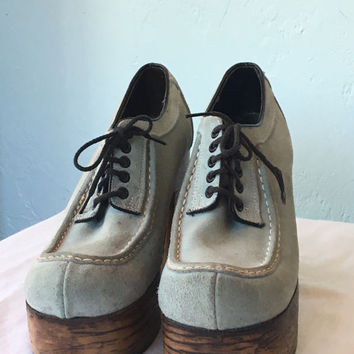 SALE Vintage 1970s Flagg Bros Light Blue Suede and Wood Platform Shoes