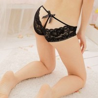 Womdee(TM) Black Charming Low Waist Bowknot T-back Briefs Lace Underwear With Accessory
