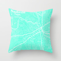 Vintage Nashville Turquois Throw Pillow by Upperleft Studios