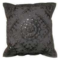 "16"" Black Indian Mirror Cushion Pillow Covers Ethnic Vintage Decorative Decor Art"