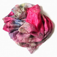 OOAK Silk Scarf ruffled Hand Dyed Raspberry Green Ocher Pink Blue  New design