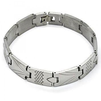 Stainless Steel 03.114.0296.08 Solid Bracelet, Polished Finish, Steel Tone