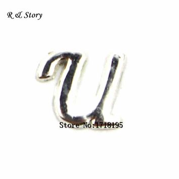 Free shipping 20pcs/lot Letter U floating charms, U locket,alphabet charms,grapheme U charms LFC_1283