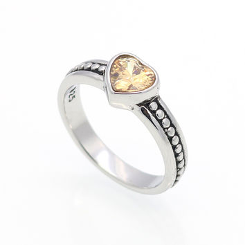 6 Colors Crystal Stone Stainless Steel Ring Heart Love Cubic Zircon Fashion Accessories Women Ring aneiss Engagement Jewelry