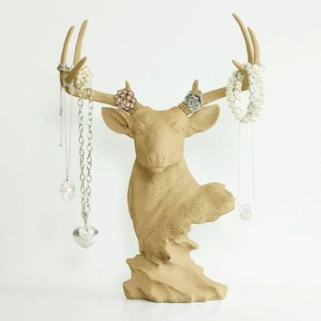 Deer Tabletop Jewelry Rack | Faux Taxidermy| Khaki Brown Resin