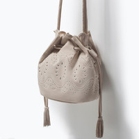 CUT WORK MINI LEATHER BUCKET BAG New