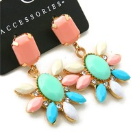 Pastel Pink Coral Mint Teal White Crystal Flower Statement Cluster Earrings