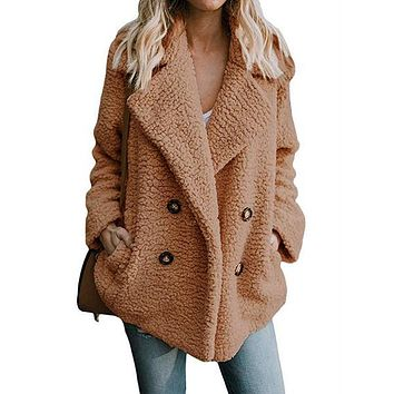 Double Breast Lapel Solid Color Women Teddy Coat Peacoat