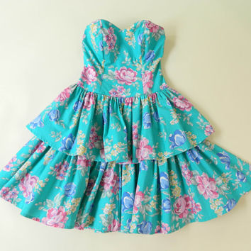 Vintage Floral Sweetheart Dress LAURA ASHLEY Strapless Medium