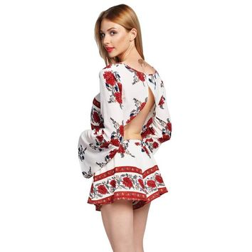 Jumpuits Retro Rosemary Floral Crop Top Shorts Set Elegant Mini Beach Overralls Two Piece Outfits