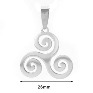 Celtic Triple spiral men jewelry necklace triskel inspired necklace stainless steel Necklaces&Pendants for women gift-with chain