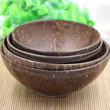 Coconut Shell Bowl Handmade Tableware Dinnerware Sets Adult Dinner Service No Paint No Wax Children Adult Family Bowls