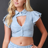 Gingham Ruffle Crop Shirt