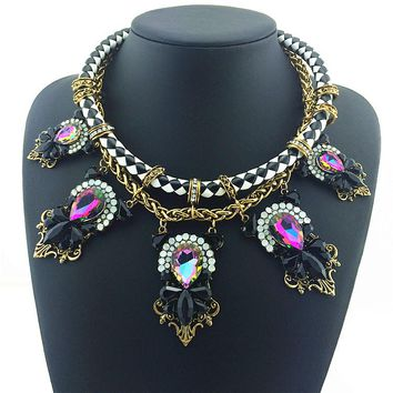 High Quality Multi-layer Cross Chunky Big Shining Crystal Statement Necklace