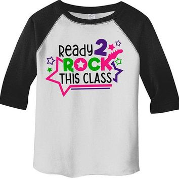 Kids Cute School Raglan Rock This Class Shirts Guitar Graphic Boy's Girl's Cute Back To School Shirts By Sarah