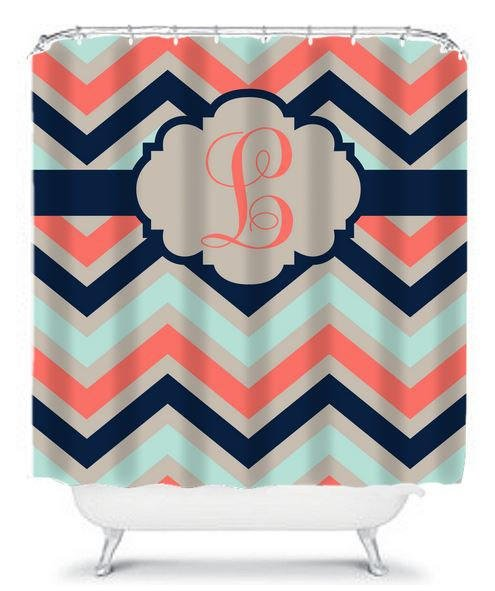 Chevron Coral Navy Aqua SHOWER CURTAIN From HoneyDesignStudio On