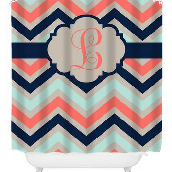 Curtains Ideas coral chevron shower curtain : Shop Personalized Chevron Shower Curtain on Wanelo