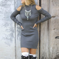 Grey Cutout Shoulder Ribbed Knit Sweater Dress