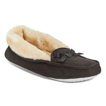 Fashion Online Women's Moccasin Slippers Microfiber House Shoes With Faux Fur Lining And Bow Accent