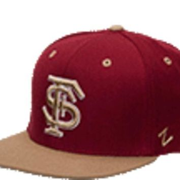V0NE05TF NCAA Florida State Seminoles Zephyr Garnet 'FS' with Gold Brim Snapback Hat