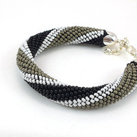 Bead crochet rope bracelet- black white grey -beaded bracelet- beaded jewelry- plus size- geometric jewelry- beadwork