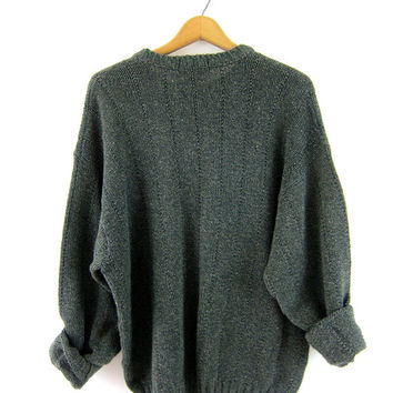 Green Sweater Plain chunky knit Jumper Basic Cotton Boyfriend knit Slouchy 90s Top Long shirt Preppy oversized sweater Size Large