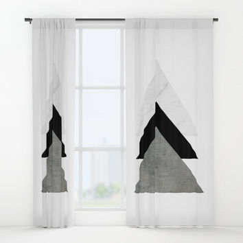 Arrows Monochrome Collage Window Curtains by ARTbyJWP