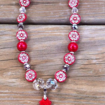 Western Chic, Red Silver Crystal Beaded Necklace, Cross Pendant
