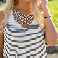Lucky Charm Striped Tank- White