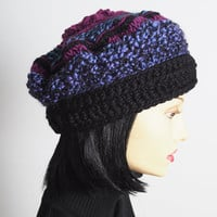 Fuchsia purple blue & black crochet hat - Ready to ship - Multi chunky knit beret - Teen girl tam - Warm winter cloche - Fashion knit hat