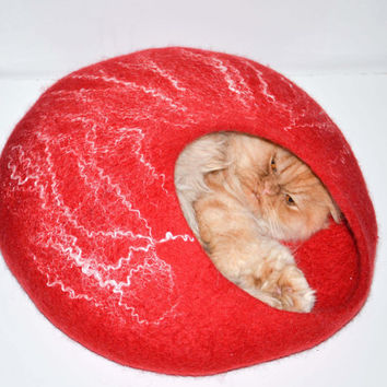 felted wool house for cat pets bed  cats cave red by Storow