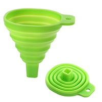 LEATON Silicone Collapsible Funnel Foldable Funnel for Liquid Transfer 100% Food Grade Silicone by Icicle (GREEN)
