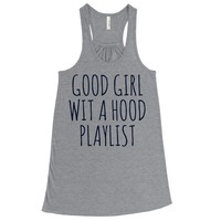 BLACK GLITTER! Good Girl With A Hood Playlist, Women's Flowy Tank Top