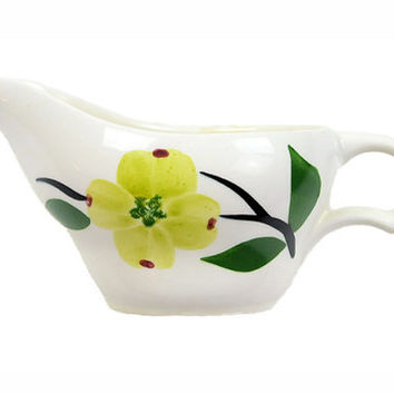 Vintage Dixie Dogwood Creamer, Gravy Boat, Maple Syrup Pourer, Mid Century Made in USA, 1950s, Dogwood Blossom, Yellow, Chartreuse, Green