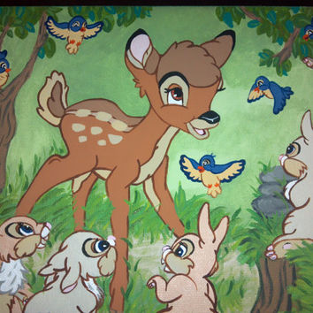 Disney's Bambi Inspired Canvas Painting by AppleHeartDesigns