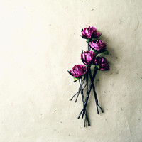 Radiant Orchid Rose Hair Pin Set. Grape Purple Floral Bobby Pins. Small Paper Hair Flowers Handmade Flower Hair Accessories