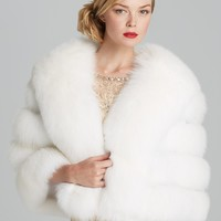 Maximilian Fox Fur Ribbon Trim Cape