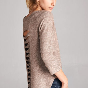 Laser Cut Tunic Top - Taupe