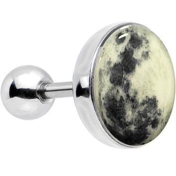 16 Gauge Moon Glow in the Dark Tragus Cartilage Earring