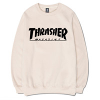 Beige Thrasher Magazine Flame Long Sleeve Sweatershirt Pullover