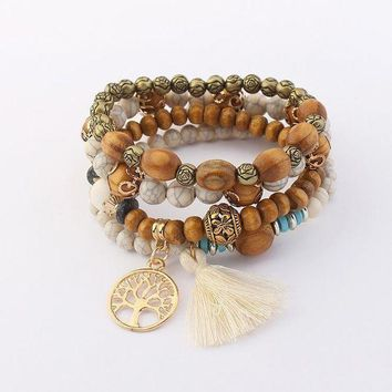 MDIGH3E Hollow tree bangle retro wood beads multi-layer stretch bracelet